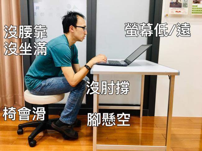辦公室坐姿調整前