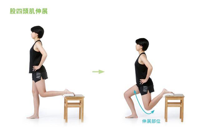 伸展大腿前側股四頭肌