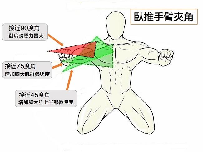 臥推常見的三個手臂夾角