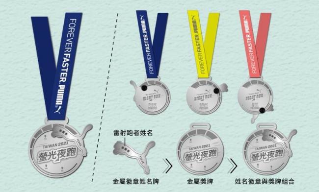 PUMA螢光夜跑客製姓名徽章式完賽獎牌