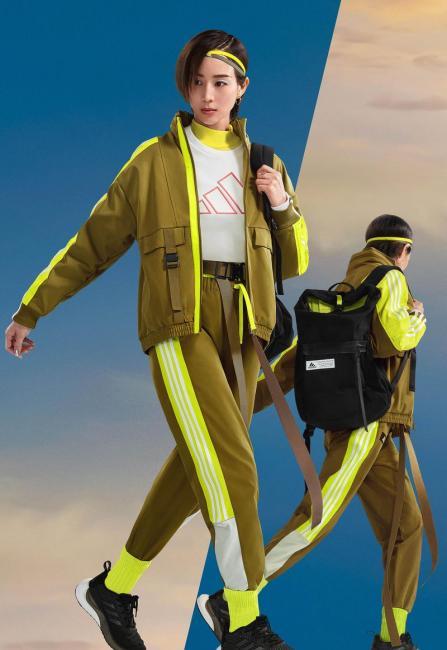 張鈞甯演繹adidas Street街頭潮流風格短版風衣外套與縮口長褲
