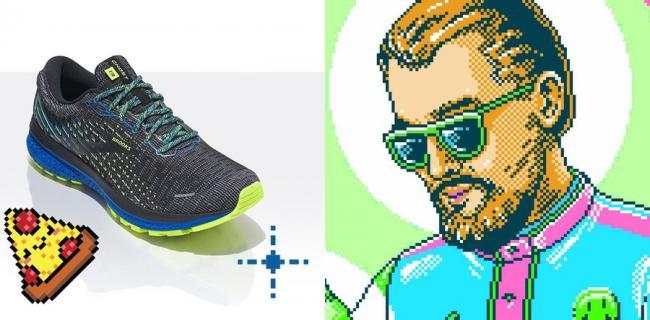 數碼像素限定款的鞋面可見繽紛多彩的交織紋理