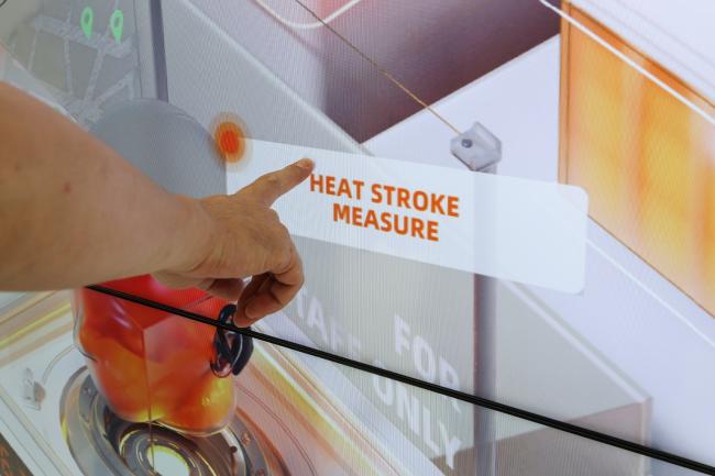 阿里雲於東京奧運國際轉播中心展示運用雲技術幫助東奧工作人員降低中暑風險的最新科技