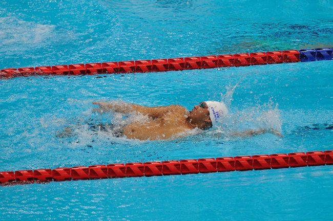 東京帕運游泳選手陳亮達參賽男子 S7 級 100 公尺仰式