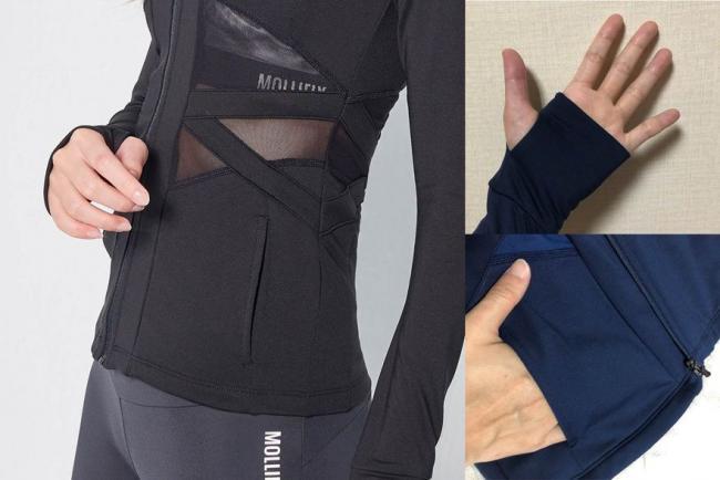 MOLLIFIX 水陸兩用速乾防曬防磨外套腰部摟空網紗、袖口拇指孔,以及兩側斜口袋