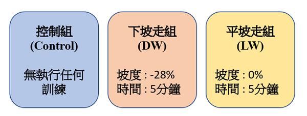 三組受試者接受不同的訓練項目