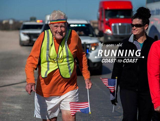 96歲阿公Ernie Andrus二度跑步橫跨美國